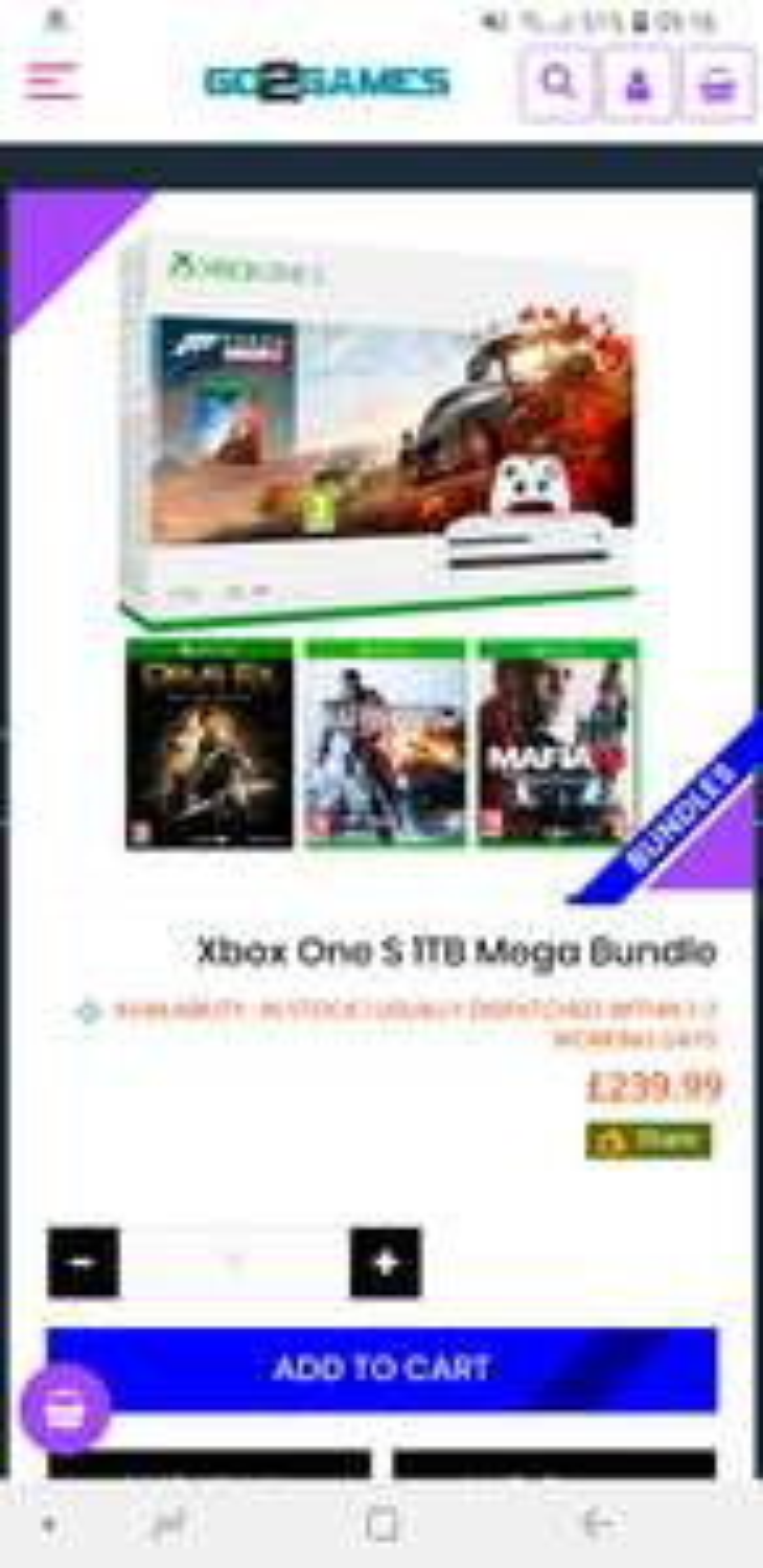 Xbox One S 1TB Mega Bundle with Forza Horizon 4, Battlefield 4, Mafia 3 & Deus Ex Mankind £239.99 @ Go2games