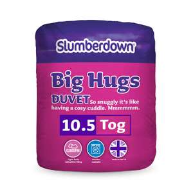 Slumberdown Big Hugs 10.5 Tog Duvet, White, King Size Bed for £16.99 Prime (Non-Prime W/C) @ Amazon UK