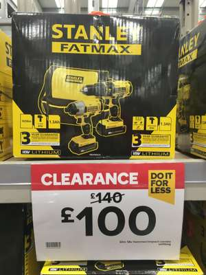 Stanley Fatmax drill and Impact driver combo £100 @ B&Q