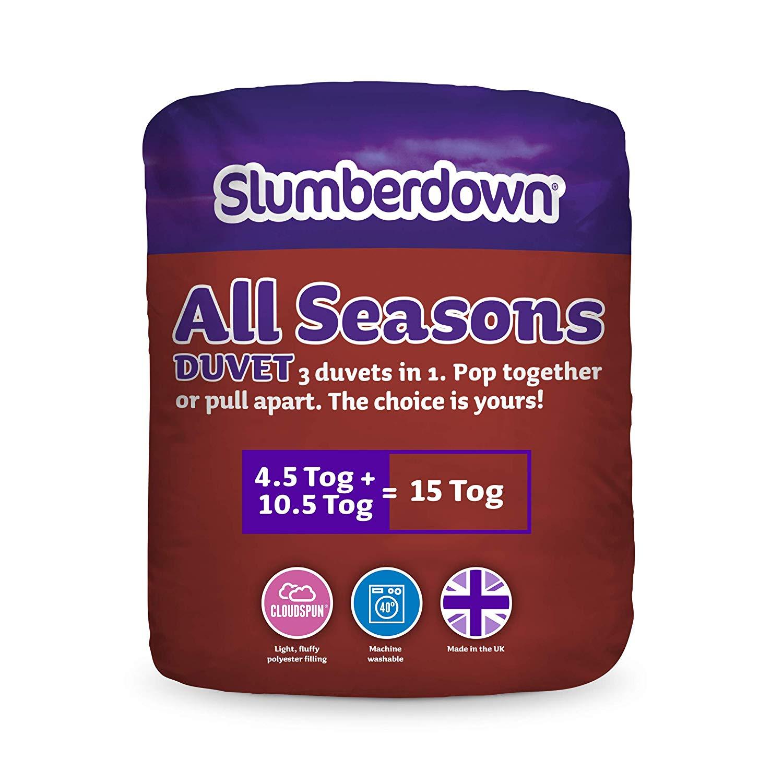 Slumberdown All Seasons 3-in-1 15 Tog Combi Duvet ( 2 Duvets ) White, Double Size £20 @ Amazon