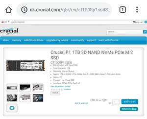 Crucial P1 1TB 3D QLC NAND NVMe PCIe M.2 SSD £159.59 + Free Delivery @ Crucial UK