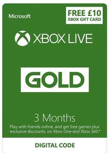 £10 FREE Credit...Xbox Live 3 Month Gold Membership @ Amazon £14.99 (£4.99 with credit or £3.50 students)