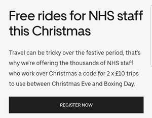 Free uber for nhs staff over Xmas period - code for 2 x £10 trips for use between 24th & 26th DEC