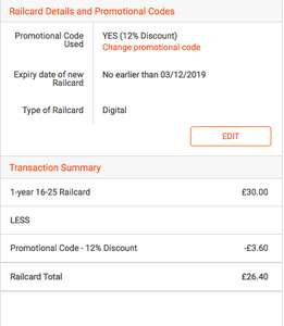 16-25 Railcard £26.40 with code (No student verification needed)