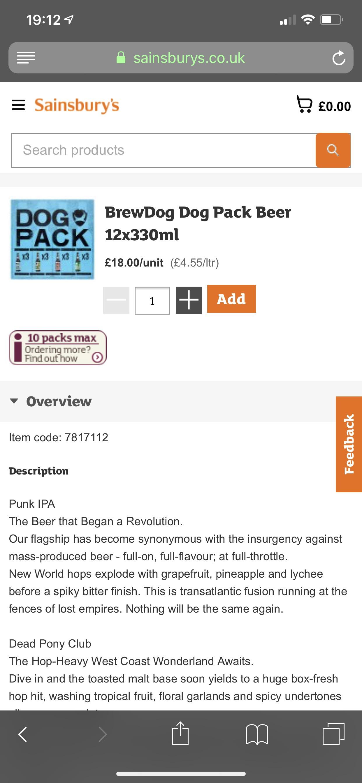 Brewdog Dog Pack 12 bottles £18 instore @ Sainsbury's