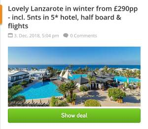 5* Lanzarote - winter getaway - 5nts - from £290pp (other dates and airports available) - Holiday Pirates