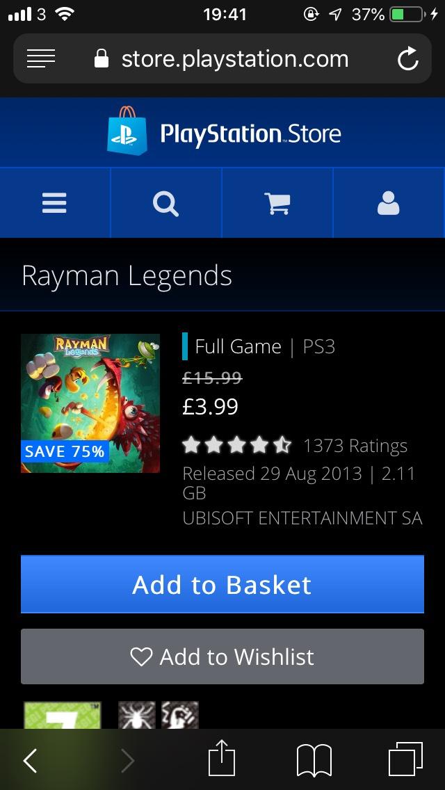 Rayman Legends PS3 £3.99 @ PSStore