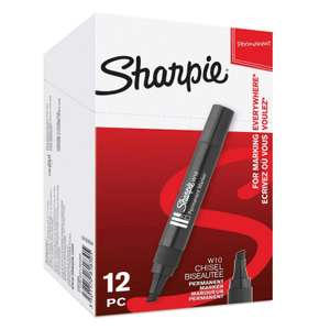 Sharpie W10 Permanent Markers, Chisel Tip, Black, Box of 12 £6.47 Free delivery for Prime & Non-Prime with code @ Amazon