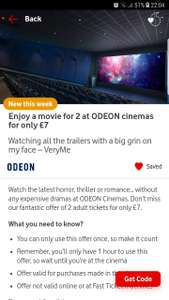 2 Odeon tickets for £7 for Vodafone users only