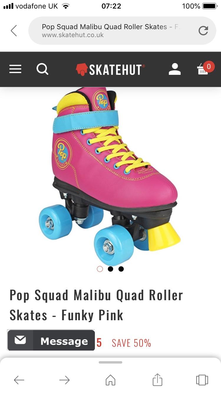 Pop squad malibu quad roller-size 3 left £19.95 + £2.49 del at Skate Hut