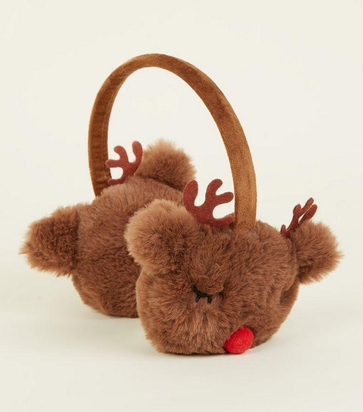 Brown Faux Fur Reindeer Ear Muffs £3.49 in store / online @ New Look