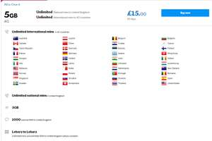 All in One 4 Unlimited  International mins to 40 countries/ 4G Unlimited  National mins to United Kingdom/ 5GB 4G Lebara £15