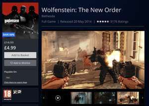 Wolfenstein: The New Order - PS4 £4.99 @ Playstation Store