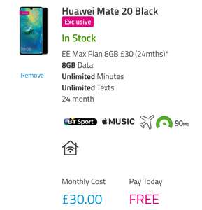 Huawei Mate 20, EE max 8Gb data, unlimited calls, BT sport. £30 a month, no upfront cost - £720 @ Buy mobiles