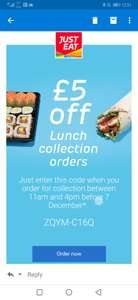 *ACCOUNT SPECIFIC* Just Eat £5 Lunch collection voucher between 11am-4pm