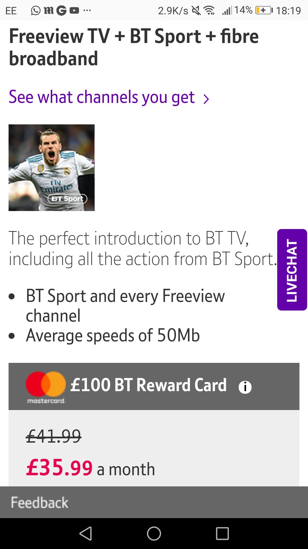 BT 50Mb fibre broadband & TV , including BT Sports. £100 cashback & free Amazon Echo £35.99pm  18m contract