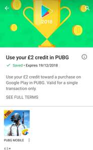 Free PUBG £2 credit towards in app purchase - Google Play