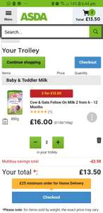 Cow and gate stage 2 milk 2 for £13.50 at Asda instore