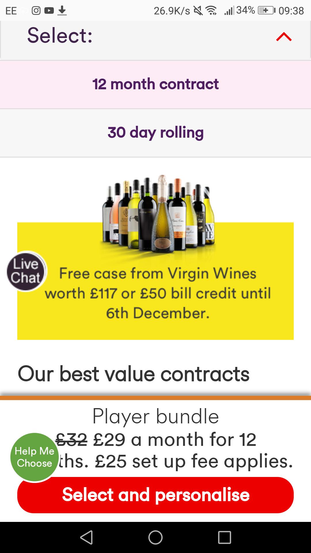 Virgin Media broadband 50Mb & TV player package. Free case of Virgin Wines worth £117 or £50 credit.