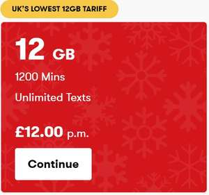 12GB data(Rollover) 1 month contract (4G), 1200 minutes Unltd texts £12 @ IDMobile