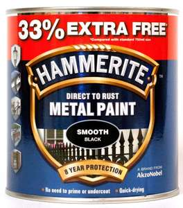 Hammerite smooth or hammered Black 750ml + 33% extra free. £13.45 (Prime) / £17.94 (non Prime) at Amazon - free del until 5th