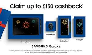 Pay monthly contract can claim £100 cashback for S9, S9+ or £150 for Note 9 from Samsung