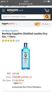 2 litre bottles of Bombay sapphire gin and £10 worth of qualifying groceries of your choice using Amazon Pantry offer
