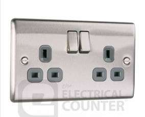 BG Nexus NBS22G Metal Brushed Stainless Steel Double Plug Socket Switched (2 Gang) £4.58 incl Free Delivery @ Electrical counter