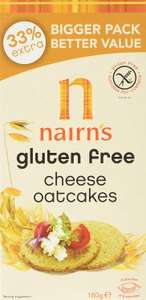 Nairns gluten free cheese oatcakes (pack of 8) £5.02 / 71% off Dispatched from and sold by Superfood Market - Amazon