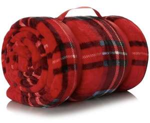 XL Tartan Super-Soft Blanket - Red + Grey star blanket + 1 more £10 each free click and collect @ Asda