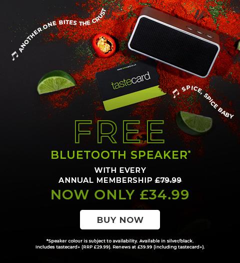 Free Bluetooth Speaker with Annual Tastecard Membership at £34.99