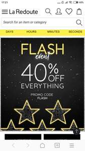 La Redoute Flash event 40% off everything inc sale