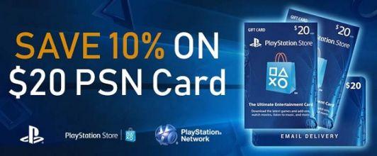 Save 10% on $20 CAN PlayStation PSN Cards at PCGameSupply - £10.44