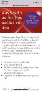 Virgin Media Retention Deal - £45 for Full House TV, VIVID 200 and Weekend Calls x 12 months = £540