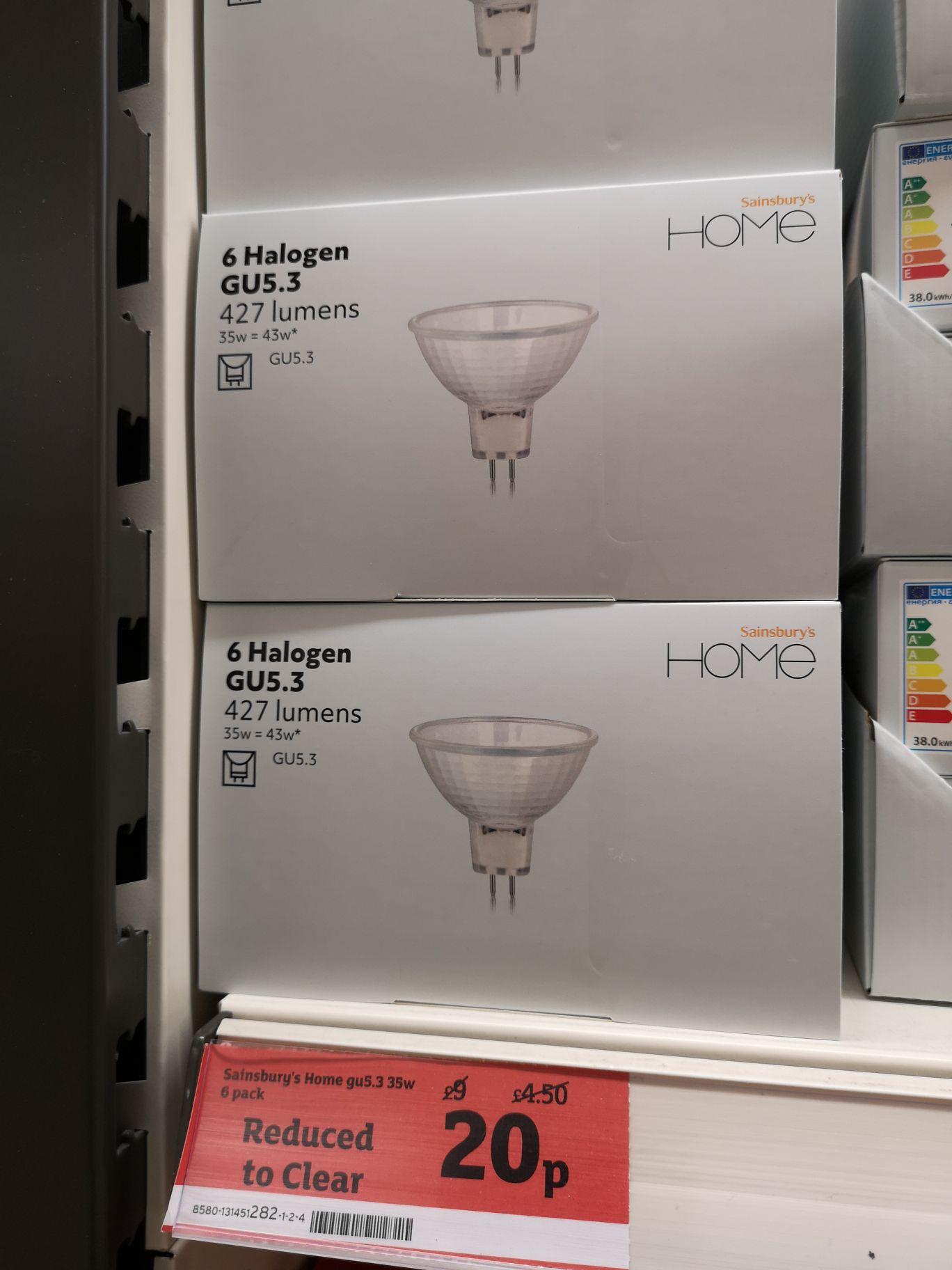 Pack of six GU 5.3 halogen down lighter bulbs. 20p in store Sainsbury's Farlington, Portsmouth