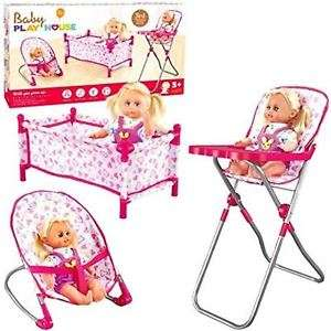 Rexco 3 Piece Baby Cot Bed Bouncer High Chair Pretend Role Play Toy Set No Dolls @ Ebay Sold By Pink_And_Blue_Gifts1 £19.99 Delivered.