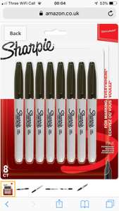 Sharpie Permanent Markers, Fine Tip, Black, 8 Pack £5.66 (Prime) / £10.15 (non Prime) at Amazon