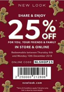 Newlook 25% discount on full price items online & in store
