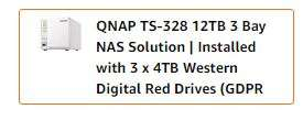 QNAP TS-328, 3bay, 2GB RAM, Budget-friendly RAID 5 NAS (Network-attached Storage) Used - Very Good  £209.91 Amazon warehouse