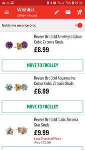 Various 9ct gold earrings from £6.99 at Argos