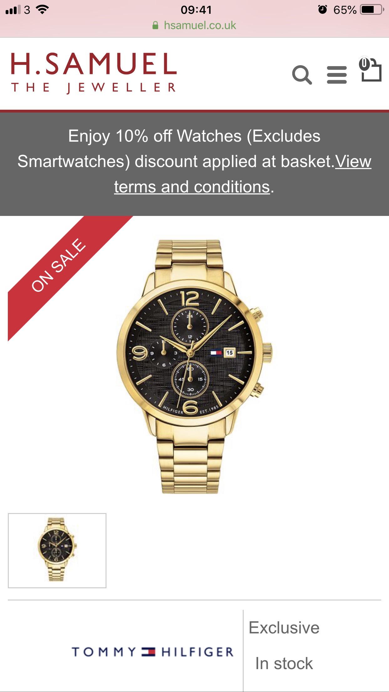 Tommy Hilfiger Men's Gold Tone Black Dial Chronograph watch  delivered £89.99 at H Samuel
