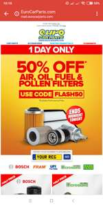 50% off Air, Oil, Fuel and Pollen Filters @ EuroCarParts (Ends Midnight) Free C&C