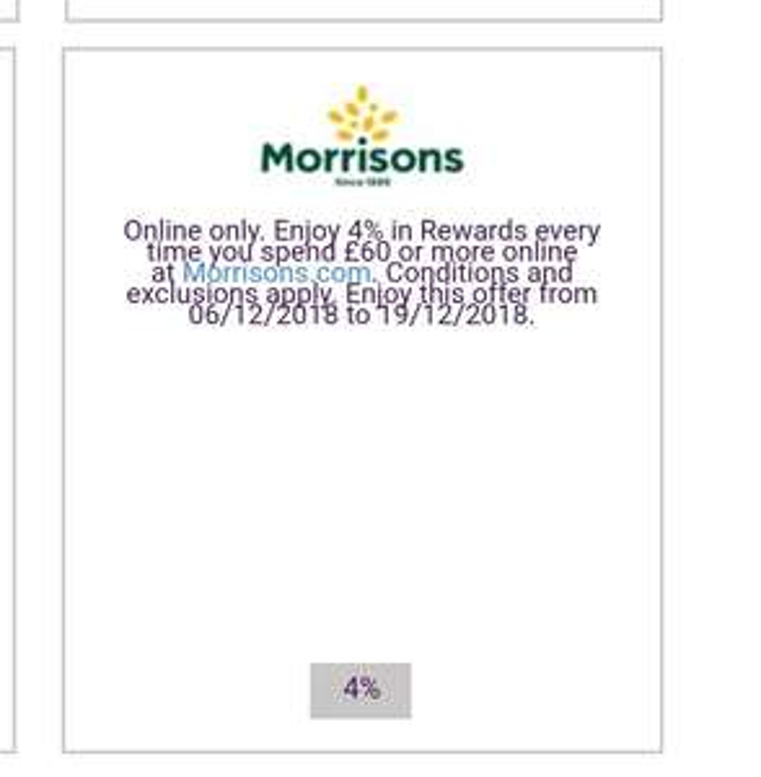 4% cashback at Morrisons.com with Natwest Rewards