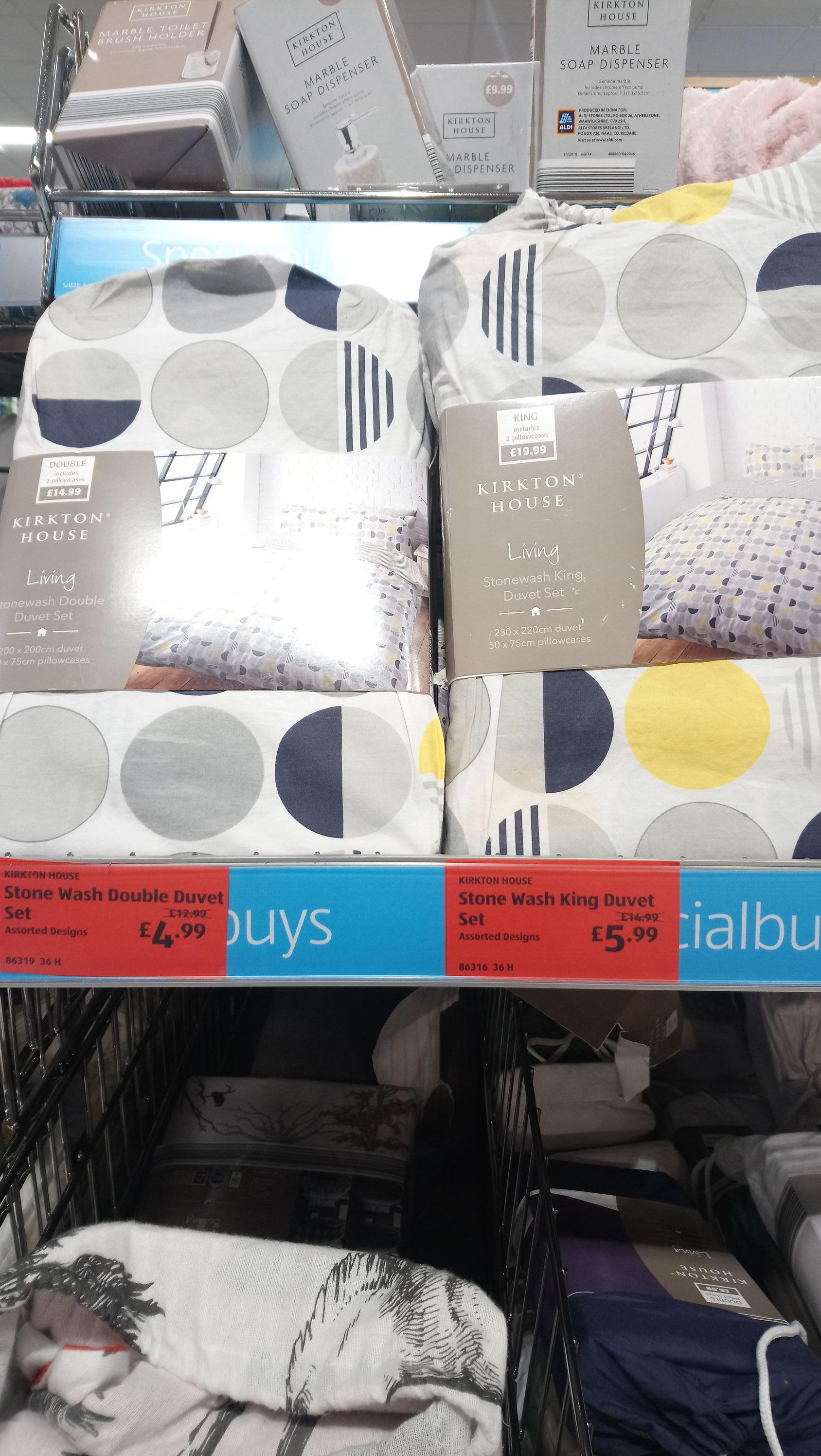 Kirkton double/king 100% cotton duvet cover set in store Aldi £4.99/£5.99