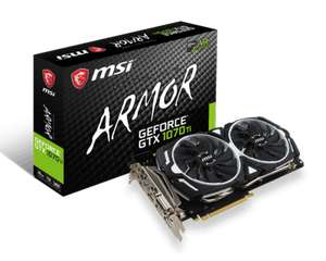 Refurbished ex-mining MSI GTX 1070 Ti ARMOR Edition 8GB £269 - £238.65 with code @ compdocyeovil eBay (selected users only)
