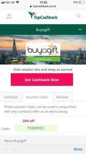 (33% off) - Buyagift 20% discount code PLUS 16% cashback on topcashback eg. 2 nights hotel with breakfast £67 OR Prezzo meal for two for £20