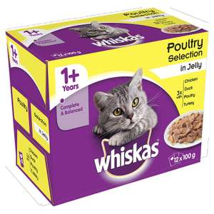 Whiskas 1+ Wet Cat Food for Adult cats Poultry Selection in Jelly, 48 Pouches (12 x 100 g) @ Amazon Pantry £3 +£2.99 Delievery