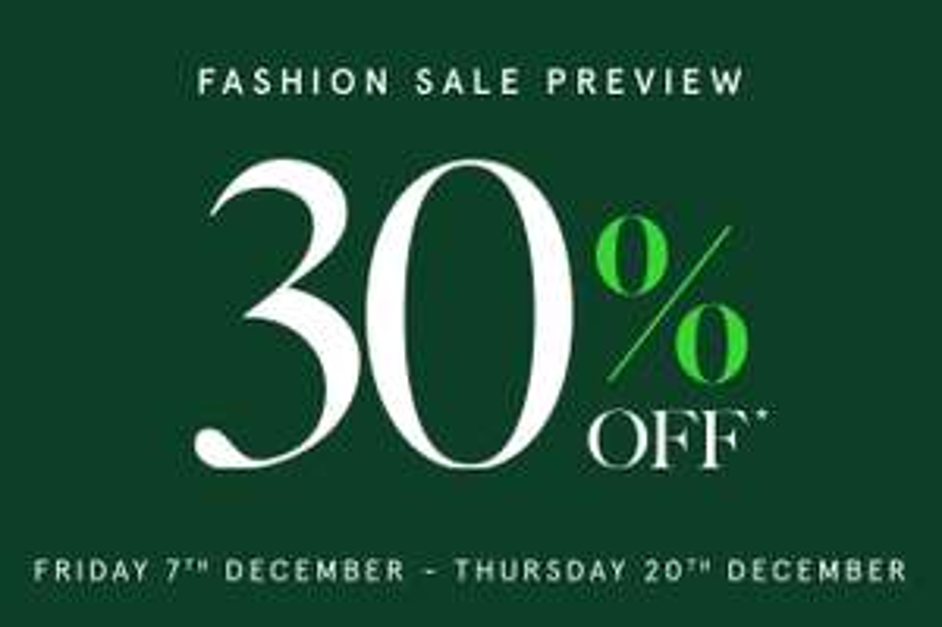 30% OFF Fashion SALE instore / online @ Harrods