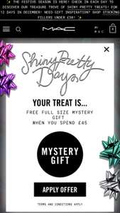 MAC Cosmetics free full size mystery gift when you spend £45