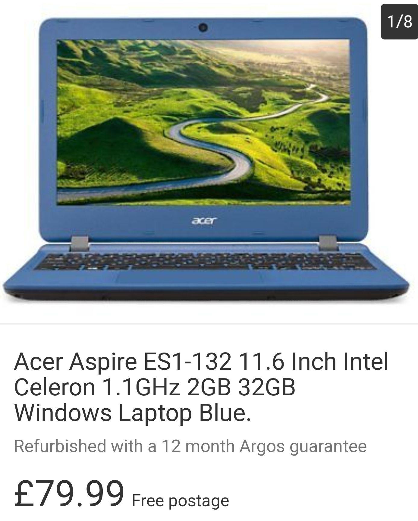 Refurbished Acer Aspire ES1-132 11.6 Inch Intel Celeron 1.1GHz 2GB 32GB Windows Laptop Blue £79.99 at Argos / eBay